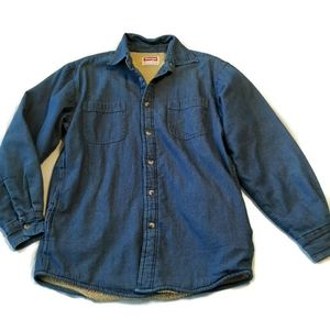 Wrangler Mens Denim Shirt Top Sherpa Lined S Warm